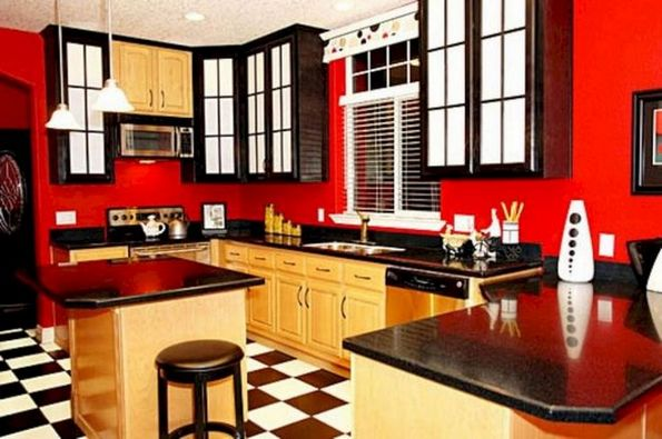 42+ Trends you need to know red kitchen walls rustic